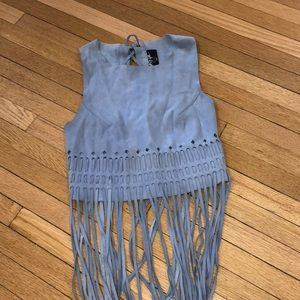 Suede fringe top